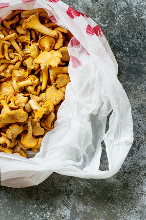 Heap of fresh uncooked forest mushrooms chanterelle in plastic bag over gray texture background. Top view with space Stock Photo