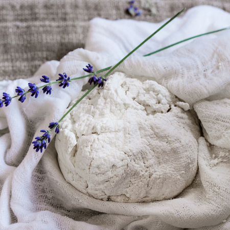 textile image: Fresh cooking homemade cottage cheese with lavender flowers in gauze textile over sackcloth background. Rustic style, day light. Square image Stock Photo