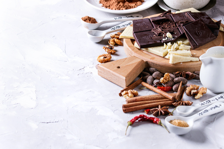 Ingredients for coocing hot chocolate. White and dark chopping chocolate on board, cocoa powder, cocoa beans, cream, cinnamon, sugar in spoons. Over gray texture background. Close up with space