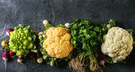 Variety of fresh raw organic colorful cauliflower, cabbage romanesco and radish with bundle of coriander over dark texture background. Top view with space. Banner. Healthy eating concept