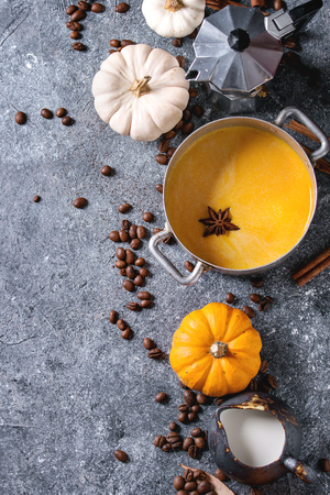 Ingredients for cook spicy pumpkin latte. Coffeepot, pumpkin milk in pan, jug of cream with spices, coffee beans and decorative pumpkins above over gray texture background. Top view, space. Stock Photo