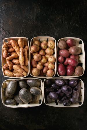Verscheidenheid van ruwe ongekookte organische aardappels verschillende soort en kleuren rood, geel, paars in marktmanden over donkere textuurachtergrond. Bovenaanzicht, ruimte