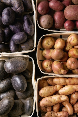 Variety of raw uncooked organic potatoes different kind and colors red, yellow, purple in market baskets. Food background. Top view, close up