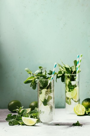Two glasses of classic mojito cocktail with fresh mint, limes, crushed ice, retro cocktail tubes with ingredients above. Pin up style, sunlight, green background. Toned image
