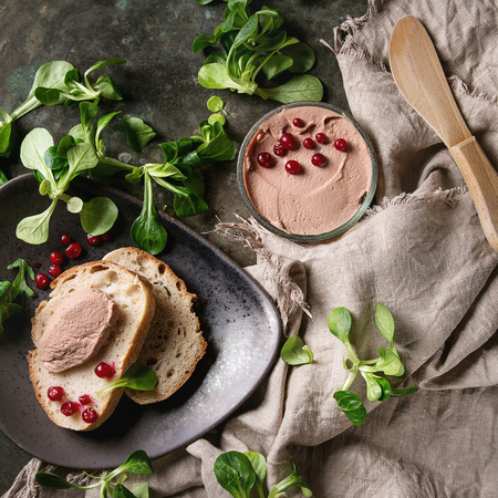 Chicken homemade liver paste or pate in glass jar with sliced whole grain bread, wood knife, cranberries, green salad served on plate with cloth over dark metal background. Top view. Square image Zdjęcie Seryjne