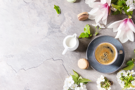 Blue cup of black espresso coffee, french dessert macaroons, cream and spring flowers magnolia, blooming cherry branches over grey texture background. Top view, space. Spring greeting card, wallpapers