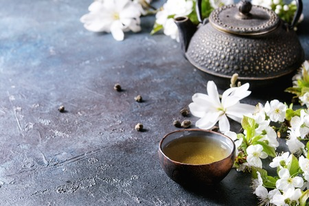Traditional ceramic cup of hot green tea with black iron teapot, spring flowers white magnolia and cherry blooming branches over dark blue texture background. Copy space.