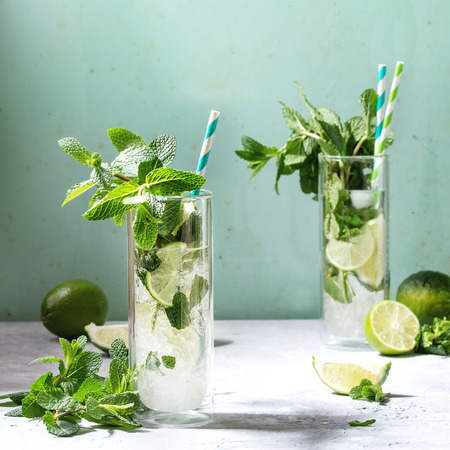 Two glasses of classic mojito cocktail with fresh mint, limes, crushed ice, retro cocktail tubes with ingredients above. Pin up style, sunlight, green background. Square image