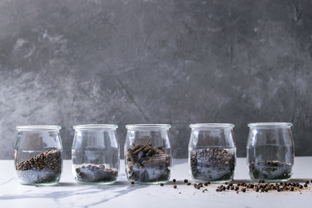 Variety of different black peppers allspice, pimento, long pepper, monks pepper, peppercorns and ground powder in glass jars on white marble kitchen table. Standard-Bild - 101983307