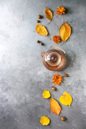 Glass teapot of hot tea decorated by yellow autumn leaves, aster flowers and acorns over grey texture background. Flat lay, space. Seasonal background.