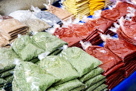 Turkish farmer market. Assortment of asian spices and herbs in package on the counter