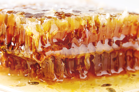 Organic honey in honeycombs on white marble background. Close up Stock Photo