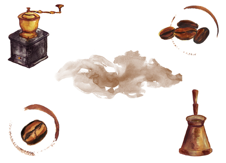 Watercolor hand drawn coffee beans with cup trace, vintage coffee grinder, jezve pot. Isolated food illustration on white background. Space for text Imagens