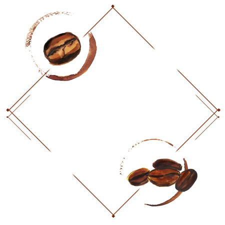 Watercolor hand drawn coffee beans with cup trace. Isolated food illustration in frame on white background. Space for text