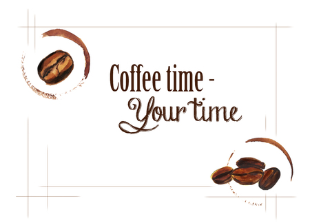 Watercolor hand drawn coffee beans with cup trace. Isolated food illustration in frame on white background. Sample text
