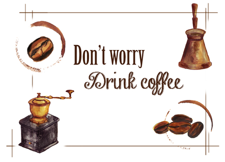 Coffee watercolor background Banco de Imagens