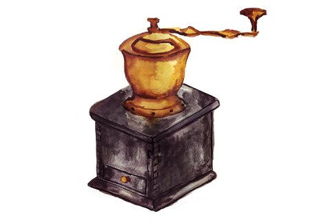 Watercolor coffee grinder