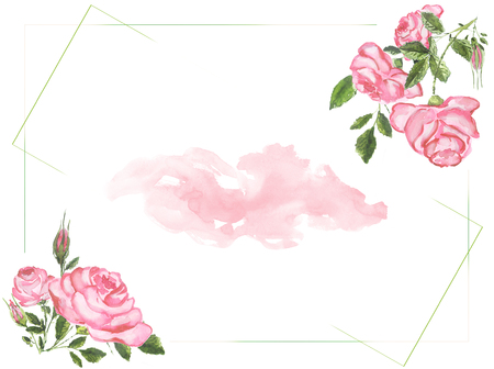 Watercolor roses background Stock Photo