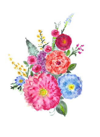 Watercolor flowers bouquet Stock Photo - 116735537
