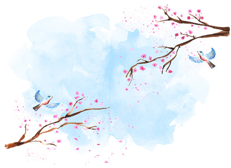 Watercolor sakura branches Banque d'images - 116735550