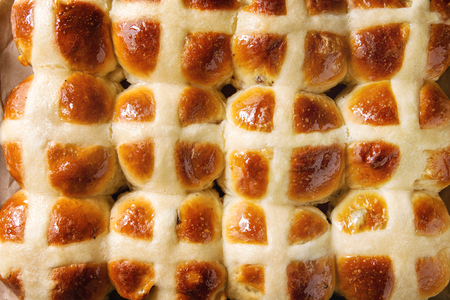 Close up of Homemade Easter traditional hot cross buns.