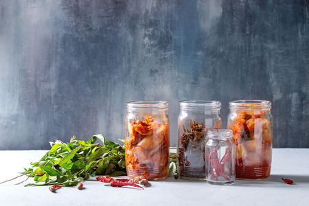 Korean traditional fermented appetizer kimchi cabbage and radish salad, hot spicy anchovies fish snack served in glass jars with Vietnamese oregano greens and chili peppers over grey blue table.