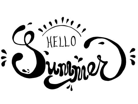 Handwritten Brush lettering calligraphy Hello Summer isolated on white background for design printing banner Vector illustration EPS10