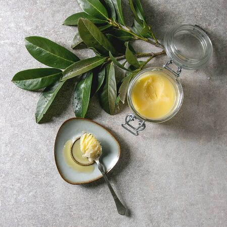 Homemade Melted ghee clarified butter in open glass jar and spoon on saucer over grey texture background with green branch. Flat lay, space
