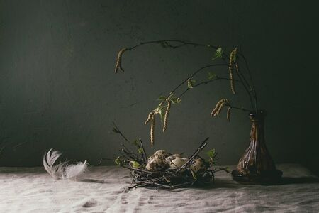 Quail Easter eggs in birds nest with white feather, young blooming birch branches in ceramic vase standing on grey linen table cloth with concrete wall at background. Easter holidays interior