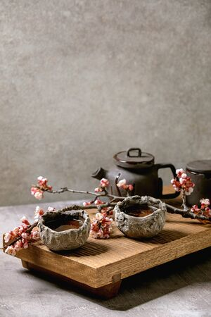 Tea drinking wabi sabi japanese style dark clay cups and teapot on wooden tea table with blooming cherry branches. Grey texture concrete background.