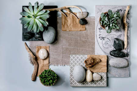 Creative layout abstract geometry squares by nature materials paper, textile, ceramics with succulent plants, stones, dry branches. Flat lay. Space for any products. Advertising eco-friendly concept Stok Fotoğraf