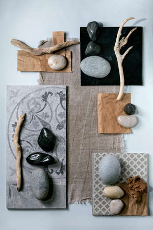 Creative layout abstract geometry squares by nature materials paper, textile, ceramics with stones and dry branches. Flat lay. Space for any products. Advertising eco-friendly concept Stok Fotoğraf