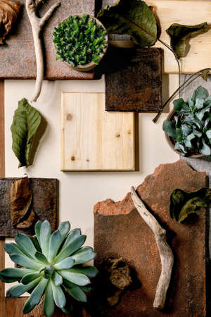 Creative layout abstract geometry empty squares by nature materials paper, textile, wood, stone with succulent plants. Flat lay. Space for any products. Advertising eco-friendly concept Stok Fotoğraf