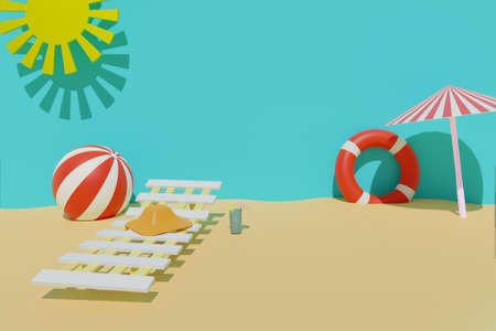 3D render of summertime sand beach with sun, lifebuoy, ball, cold drink, beach chair, sun umbrella and a hat. Summer travel vacation concept