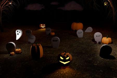 Halloween 3D render of graveyard with luminous halloween pumpkins Jack-o-lantern, ghost, trees and graves. Autumn holidays.