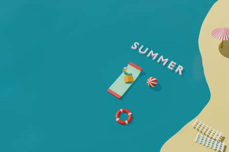 3D render of summer time beach with inflatable mattress for swimming, book, ball and lifebuoy in sea. Summer travel vacation concept