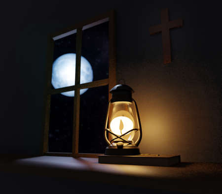 Old fashioned kerosene lantern style oil lamp burning in night with a soft glow in old church with cross on wall and full moon outside of the window