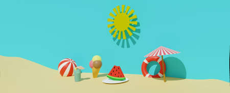 3D render of summertime sand beach with sun, lifebuoy, ball, ice cream, sun umbrella, cold drink and watermelon . Summer travel vacation, summer food and drink concept. Banner size