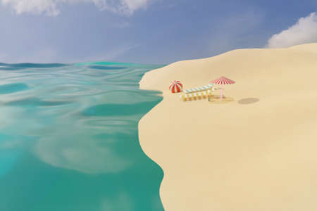 3D render of summer time sand beach with two empty beach chair, sun umbrella and ball near sea waves under clear sky. Summer travel vacation concept