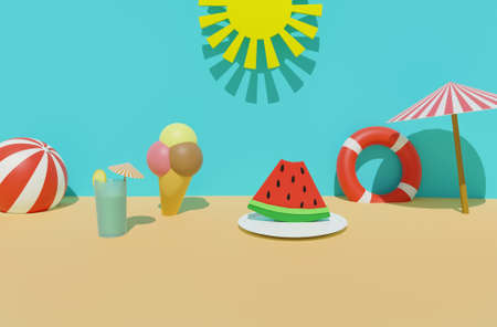 3D render of summer time sand beach with sun, lifebuoy, ball, ice cream, cold drink, sun umbrella and watermelon . Summer travel vacation, summer food and drink concept 版權商用圖片
