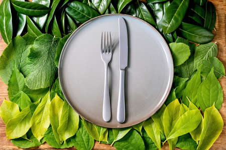 Empty ceramic plate with knife and fork on background made of green leaves, green gradient. Copy space. Empty place for product. Summer menu concept. Nature creative layout, flat lay, Eco food