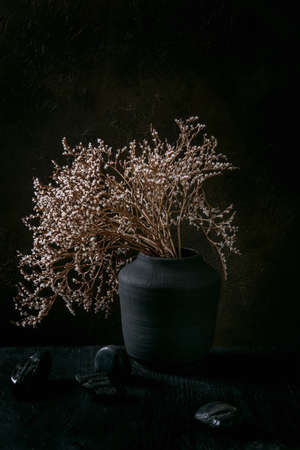 Dry white flowers branch in black ceramic vase on black wooden table with decorative stones. Dark still life. Copy space. 版權商用圖片
