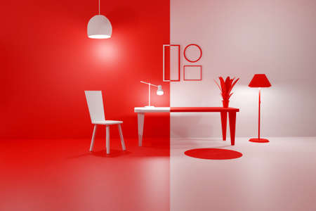 3D render of red and white modern interior living room with glowing floor lamp, table, chair and empty picture frames. Scene to show any pictures, poster or painting how it will look. Duality concept