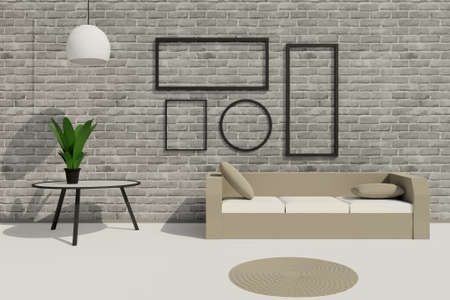 3D render of modern loft living room with sofa, table and empty picture frames on brick grey wall. Scene to show any pictures, poster or painting how it will look 版權商用圖片