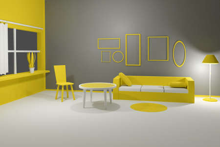 3D render of modern interior living room with sofa, table, chair and empty picture frames on grey wall. Scene to show any pictures, poster or painting how it will look. Yellow grey  colors
