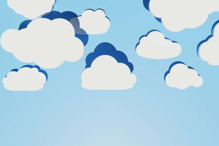 Abstract background with different flat clouds with shadows over blue sky. Creative layout. Copy space, 3d render 版權商用圖片