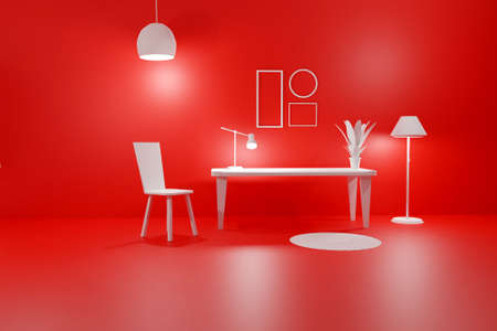 3D render of red living room with glowing floor lamp, table, chair and empty picture frames. Minimalist modern interior. Scene to show any pictures, poster or painting how it will look