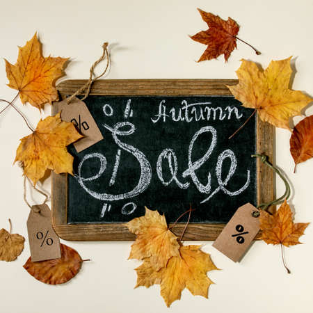 Autumn sale concept. Vintage chalkboard with hand written lettering Sale, labels with percents, yellow autumn leaves over beige background. Flat lay. Square