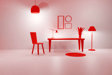 3D render of pink living room with glowing floor lamp, table, chair and empty picture frames. Minimalist modern interior. Scene to show any pictures, poster or painting how it will look