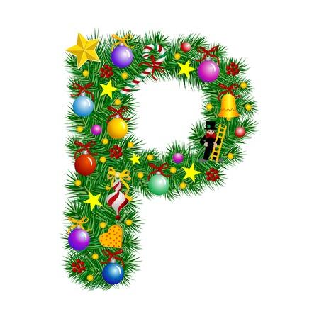 Letter P - Christmas tree decoration - Alphabet Vektoros illusztráció